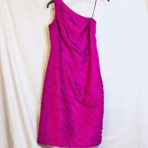 Carmen Marc Valvo One Shoulder Silk Fuschia Dress